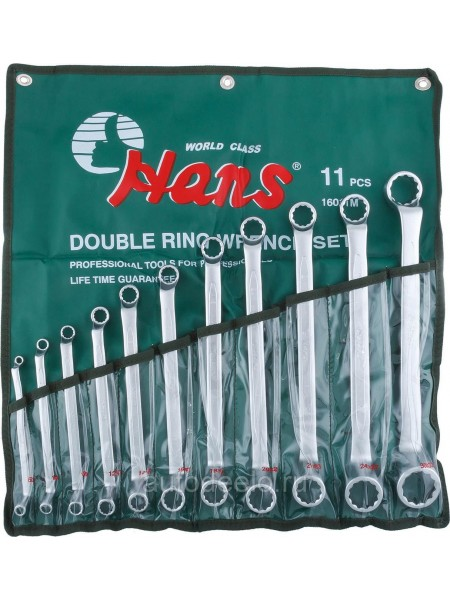 Набор ключей накидных двухсторонних 75° 6-32 мм, 11 предметов 16011M