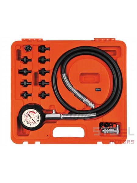 Тестер давления масла в наборе (0-10 кг/см2, 10 адаптеров), в пласт. кейсе 19210200