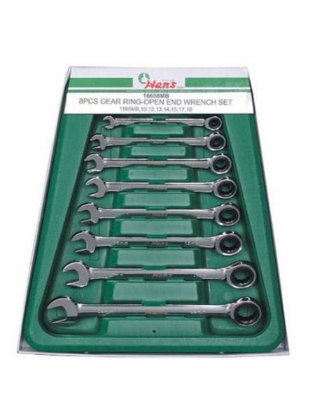 Набор ключей комбинированных с храповым механизмом, 8 предметов 16658MUB