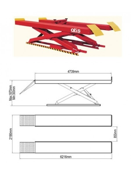 Ножничный  напольный подъемник 4т X400